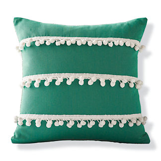 Pom Pom Fringe Jade Outdoor Pillow