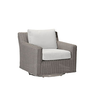 Rustic Wicker Swivel Lounge Chair with Cushions by Summer Classics