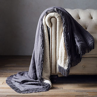 Ruched Sherpa Fringe Throw