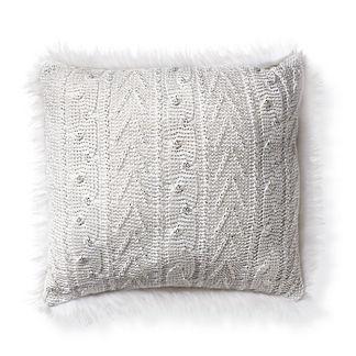 Metallic Knit Pillow with White Fur