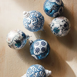 French Linen and Blue Ornament Accent Kit, Set of Six