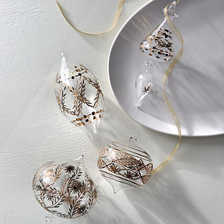 Atelier Glam Gold Etched Glass Ornaments, Set of Four