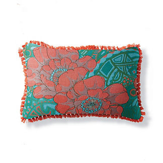 Floral Groove Poppy Lumbar Pillow