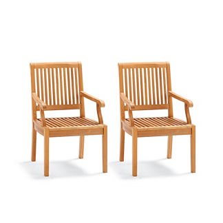 Cassara Set of Two Dining Arm Chairs in Natural Finish