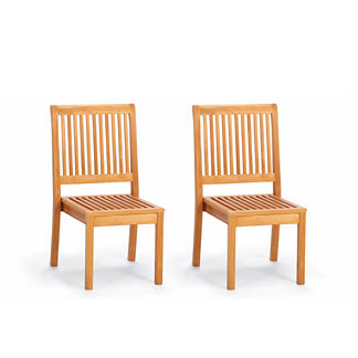 Cassara Set of Two Stacking Side Chairs in Natural Finish