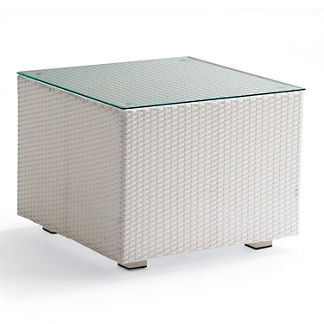 Metropolitan White Glass-top Side Table