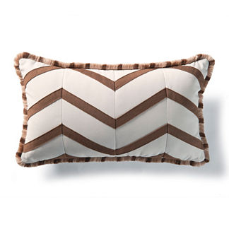 Chevron Lumbar Pillow in White and Cocoa