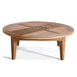 Hyde Park Solid-Teak Chat Table in Ocean Grey Finish
