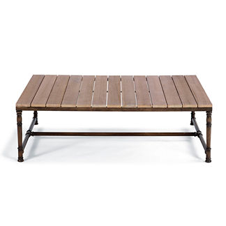 Hyde Park Teak-top Coffee Table in Ocean Grey Finish