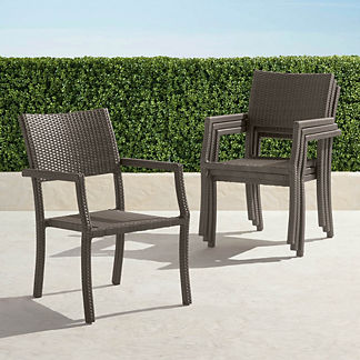 Set of Four Cafe Square Back Stacking Chairs