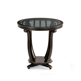 Glen Isle Glass-overlay Side Table in Midnight Gold Finish