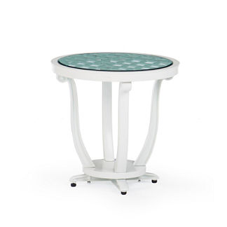 Glen Isle Glass-overlay Side Table in White Finish