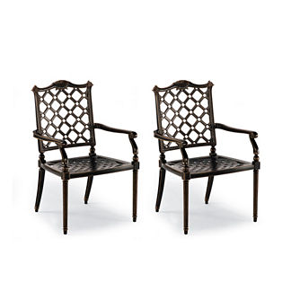 Glen Isle Set of Two Dining Arm Chairs in Midnight Gold