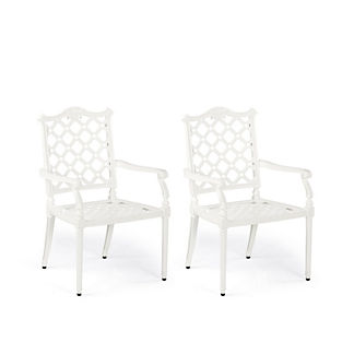 Glen Isle Set of Two Dining Arm Chairs in White Finish