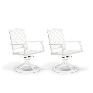 Glen Isle Set of Two Swivel Arm Chairs in White Finish