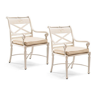 Carlisle Set of Two Dining Arm Chairs in Parisian Ivory Finish