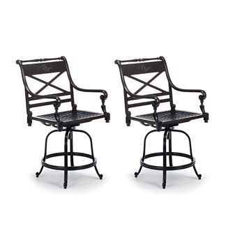 Carlisle Set of Two Swivel Balcony Bar Stools in Onyx Finish