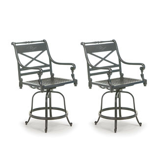 Carlisle Set of Two Swivel Balcony Bar Stools in Slate Finish