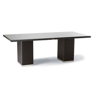 Metropolitan Glass-overlay Dining Table in Panther Finish