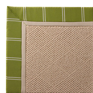 Outdoor Parkdale Rug in Sunbrella Topside Gingko with Oyster Border