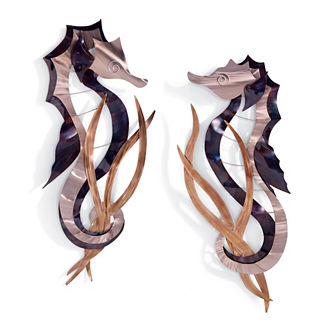 Set of Two Seahorse Wall Decor by Copper Art