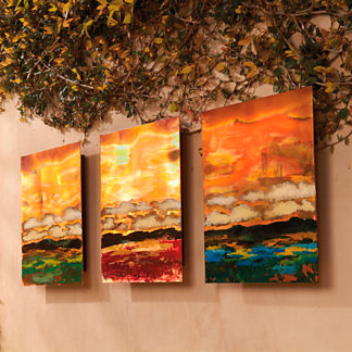 Set of Three Copper Landscapes Outdoor Wall Art