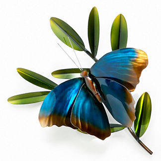 Butterfly on a Branch Outdoor Wall Art by Copper Art