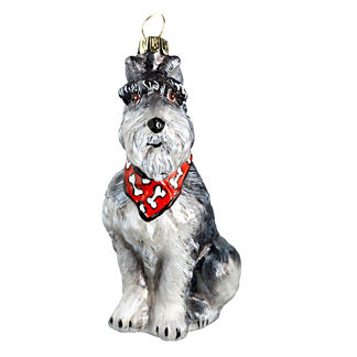 Grey Schnauzer with Bandana Ornament