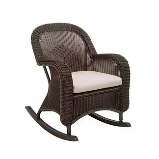 Classic Wicker Plantation Rocker with Cushions by Summer Classics