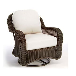 Classic Wicker Swivel Glider Lounge Chair with Cushions by Summer Classics
