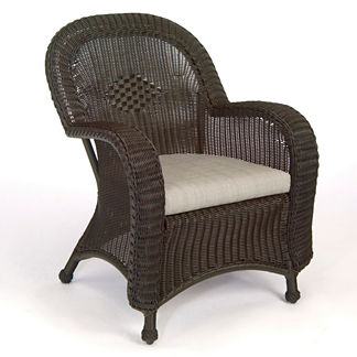 Classic Wicker Dining Arm Chair With Cushion By Summer Classics