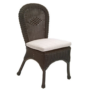 Classic Wicker Dining Side Chair with Cushion by Summer Classics