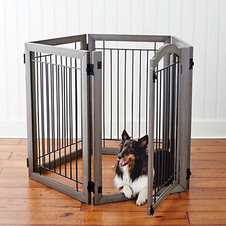 Six-panel Hardwood Pet Gate and Crate
