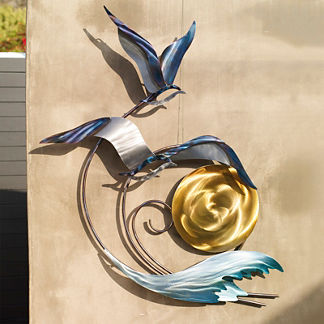 Seagulls at Sunset Wall Decor by Copper Art