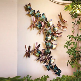 Large Dragonflies and Butterflies Wall Art by Copper Art