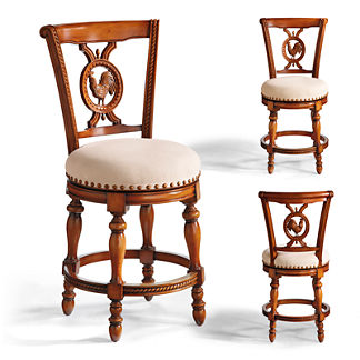 Provencal Rooster Counter Stool (25-3/4