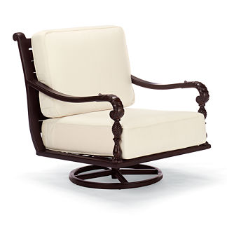 British Colonial Swivel Lounge Chair with Cushions, Special Order