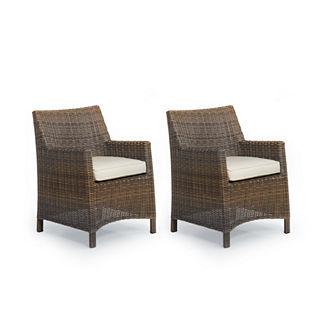 Hyde Park Set of Two Dining Arm Chairs with Cushions in Ocean Grey Finish, Special Order