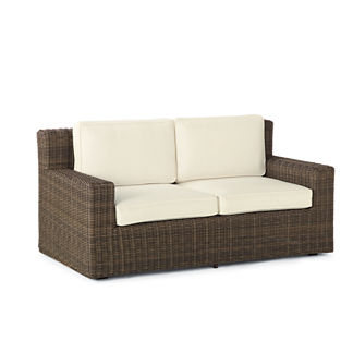 Hyde Park Loveseat with Cushions in Ocean Grey Finish