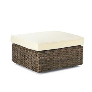 Hyde Park Ottoman with Cushion in Ocean Grey Finish, Special Order