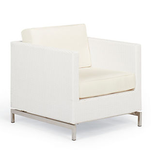 Metropolitan Lounge Chair with Cushions in White Finish, Special Order