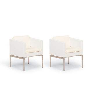 Metropolitan Set of Two Dining Arm Chairs with Cushions in White Finish