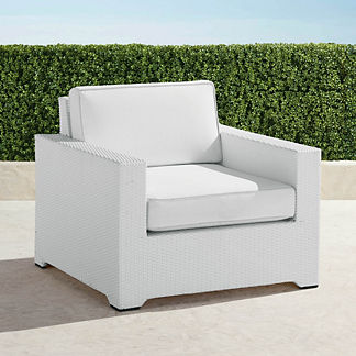 Palermo Lounge Chair with Cushions in White Finish, Special Order