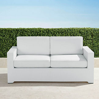 Palermo Loveseat with Cushions in White Finish, Special Order