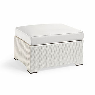 Palermo Medium Ottoman with Cushion in White Finish, Special Order
