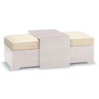 Palermo Coffee Table with Nesting Ottomans in White Finish, Special Order