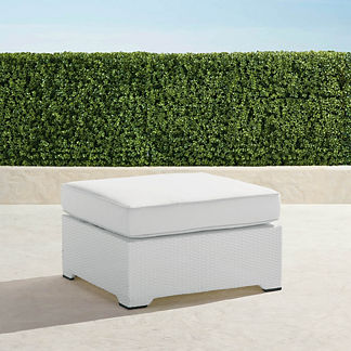 Palermo Ottoman with Cushion in White Finish, Special Order