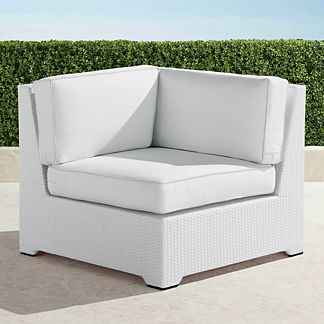Palermo Corner Chair with Cushions in White Finish, Special Order