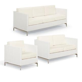 Metropolitan 3-pc. Sofa Set in White Finish