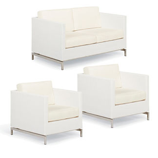 Metropolitan 3-pc. Loveseat Set in White Finish